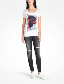 ARMANI EXCHANGE LIPS GRAPHIC TEE Logo T-shirt Woman a