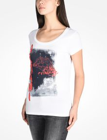 ARMANI EXCHANGE LIPS GRAPHIC TEE Logo T-shirt Woman d