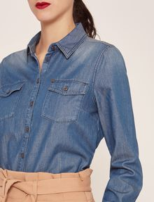 ARMANI EXCHANGE TAILORED DENIM WORKSHIRT Denim Shirt Woman a
