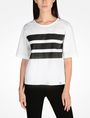ARMANI EXCHANGE BOLD STRIPED BLOUSE S/S Woven Top Woman f