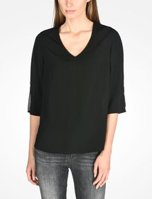 ARMANI EXCHANGE SHEER DETAIL V-NECK BLOUSE L/S Woven Top Woman f