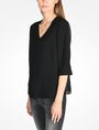 ARMANI EXCHANGE SHEER DETAIL V-NECK BLOUSE L/S Woven Top Woman d