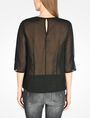 ARMANI EXCHANGE SHEER DETAIL V-NECK BLOUSE L/S Woven Top Woman r