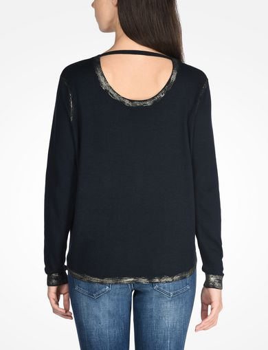 FOIL TRIM CREW NECK SWEATER