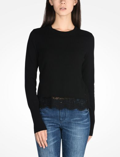 LACE TRIM CREWNECK SWEATER