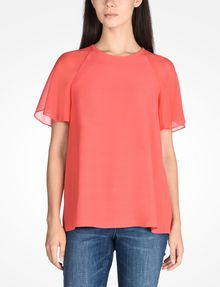 ARMANI EXCHANGE SHEER DETAIL BLOUSE S/S Woven Top D f