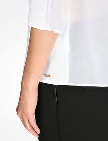 ARMANI EXCHANGE SHEER DETAIL V-NECK BLOUSE L/S Woven Top Woman e