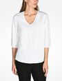 ARMANI EXCHANGE SHEER DETAIL V-NECK BLOUSE L/S Woven Top D f