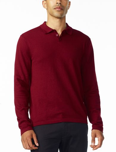 ARMANI EXCHANGE COTTON CASHMERE LONG-SLEEVE POLO Man front