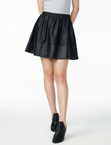 ARMANI EXCHANGE PERFORATED HEM FLARED SKIRT Woman front