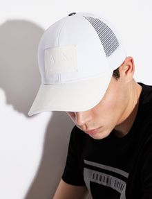 ARMANI EXCHANGE FAUX-LEATHER LOGO PATCH HAT Hat Man r
