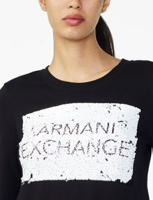 ARMANI EXCHANGE REVERSIBLE A|X SEQUIN CREW Fleece Top D e