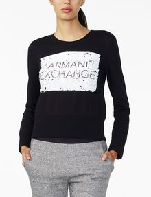 ARMANI EXCHANGE REVERSIBLE A|X SEQUIN CREW Fleece Top D f