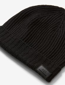 ARMANI EXCHANGE RIB-KNIT LOGO BEANIE Hat Man e