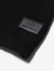 ARMANI EXCHANGE RUBBER LOGO PATCH BEANIE Hat Man e
