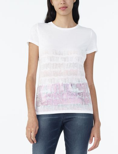 ARMANI EXCHANGE BRUSHSTROKE FLOCKED AND FOILED TEE Woman front