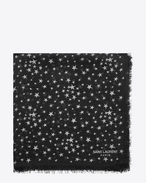 SAINT LAURENT Squared Scarves D ÉTOILES Large Square Scarf in Black and Ivory Star Printed Cashmere and Silk Étamine f