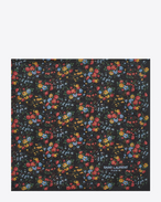 SAINT LAURENT Squared Scarves D FLEURS Large Square Scarf in Black and Multicolor Wild Flower Printed Silk Georgette f