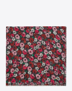 SAINT LAURENT Squared Scarves D FLEURS Large Square Scarf in Black and Fuchsia Anemone Printed Cashmere and Silk Étamine f
