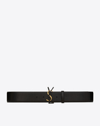 SAINT LAURENT Wide Belts D MONOGRAM Buckle Belt in Black Leather and Gold-Toned Metal f