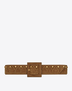 SAINT LAURENT Wide Belts D Y Stud Corset Belt in Cognac Suede and Vintage Gold-Toned Metal f