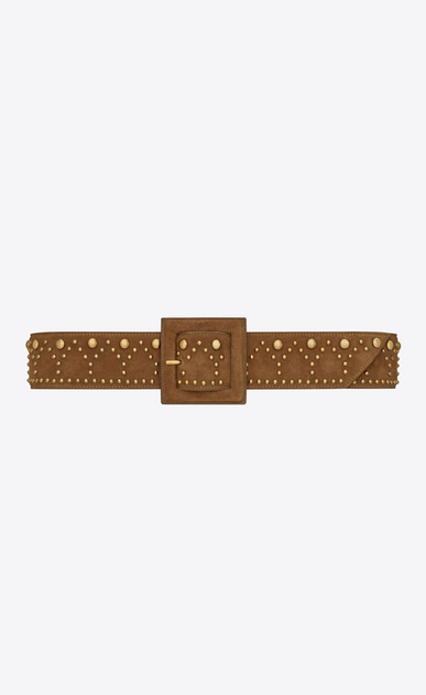 Y Stud Corset Belt in Cognac Suede and Vintage Gold-Toned Metal