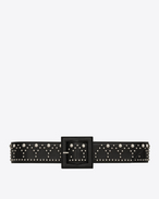 SAINT LAURENT Wide Belts D Y Stud Corset Belt in Black Leather and Oxidized Nickel f