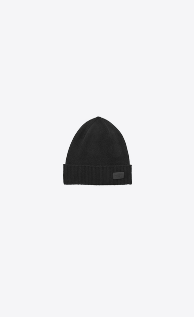 SAINT LAURENT Hats D Knit Hat in Black Cashmere v4