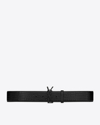 SAINT LAURENT Wide Belts D MONOGRAM Buckle Belt in Black Crocodile Embossed Leather and Black Matte Enamel f
