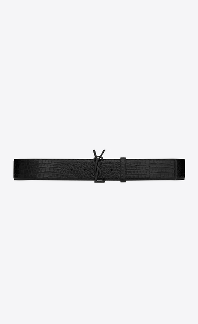 SAINT LAURENT Wide Belts D MONOGRAM Buckle Belt in Black Crocodile Embossed Leather and Black Matte Enamel a_V4
