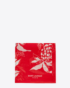 SAINT LAURENT Squared Scarves U Classic Bandana in Red and Off White Hawaiian Hibiscus Printed Cotton Voile f
