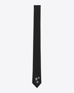 SAINT LAURENT Skinny Ties U Signature 3 Star Skinny Tie in Black and Off White Silk Jacquard f