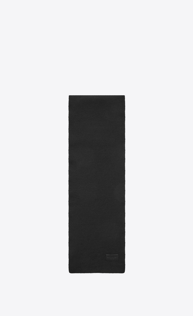 SAINT LAURENT Large scarves U Knit Scarf in Black Wool a_V4