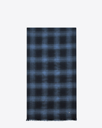 SAINT LAURENT Large scarves U Sciarpa signature plissé nera e blu tartan in lana, cashmere e jacquard di flanella f