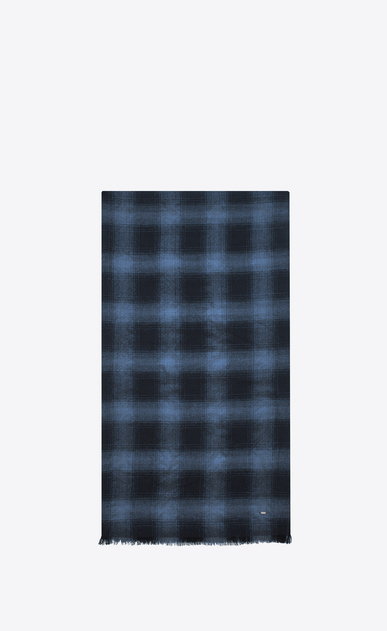 SAINT LAURENT Large scarves U Signature Pleated Scarf in Black and Blue Plaid Wool, Cashmere and Silk Flannel Jacquard a_V4