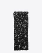 SAINT LAURENT Large scarves U Signature Pleated Scarf in Black and Off White Star Printed Cashmere and Silk Étamine f