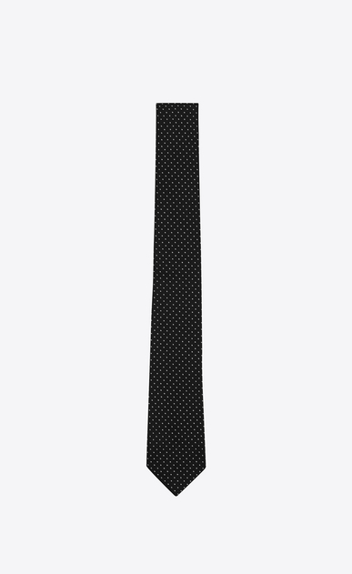 SAINT LAURENT Classic Ties U Signature Pin Dot Slim Tie in Black and Off White Silk Jacquard a_V4