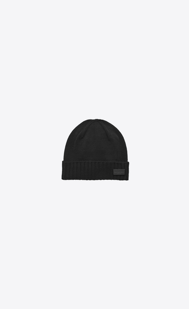 SAINT LAURENT Hats U Knit Hat in Black Wool a_V4