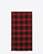 SAINT LAURENT Large scarves U Signature Pleated Scarf in Black and Red Plaid Wool, Cashmere and Silk Flannel Jacquard f