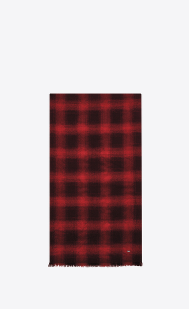 SAINT LAURENT Large scarves U Signature Pleated Scarf in Black and Red Plaid Wool, Cashmere and Silk Flannel Jacquard a_V4