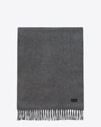 SAINT LAURENT Large scarves U Knit Fringed Scarf in Grey Cashmere f