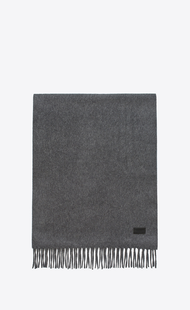 SAINT LAURENT Large scarves U Knit Fringed Scarf in Grey Cashmere a_V4