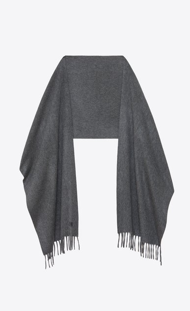 SAINT LAURENT Large scarves U Knit Fringed Scarf in Grey Cashmere b_V4