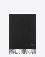 SAINT LAURENT Large scarves U Knit Fringed Scarf in Black Cashmere f