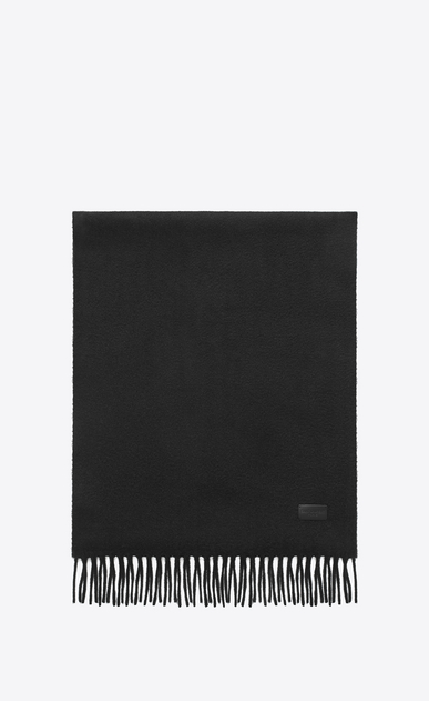 SAINT LAURENT Large scarves U Knit Fringed Scarf in Black Cashmere a_V4