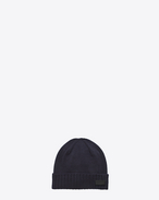 SAINT LAURENT Hats U Knit Hat in Navy Blue Wool f