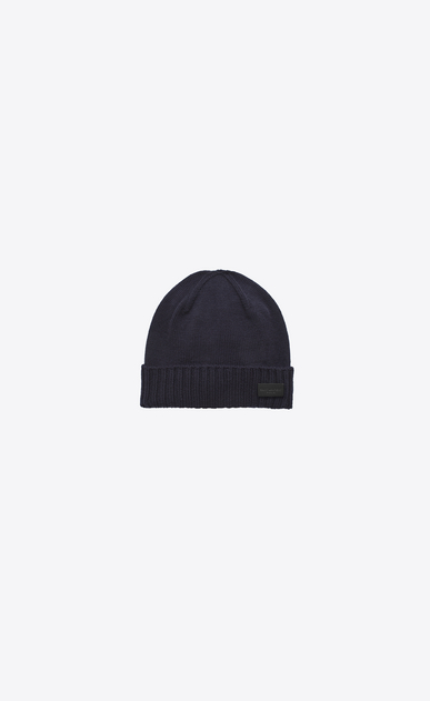 SAINT LAURENT Hats U Knit Hat in Navy Blue Wool a_V4