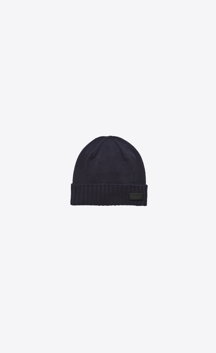 d9e1d073aac Saint Laurent Knit Hat In Navy Blue Wool