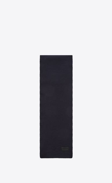 SAINT LAURENT Large scarves U Knit Scarf in Navy Blue Wool a_V4