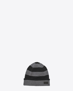 SAINT LAURENT Hats U Knit Hat in Black and Grey Collegiate Striped Cashmere f
